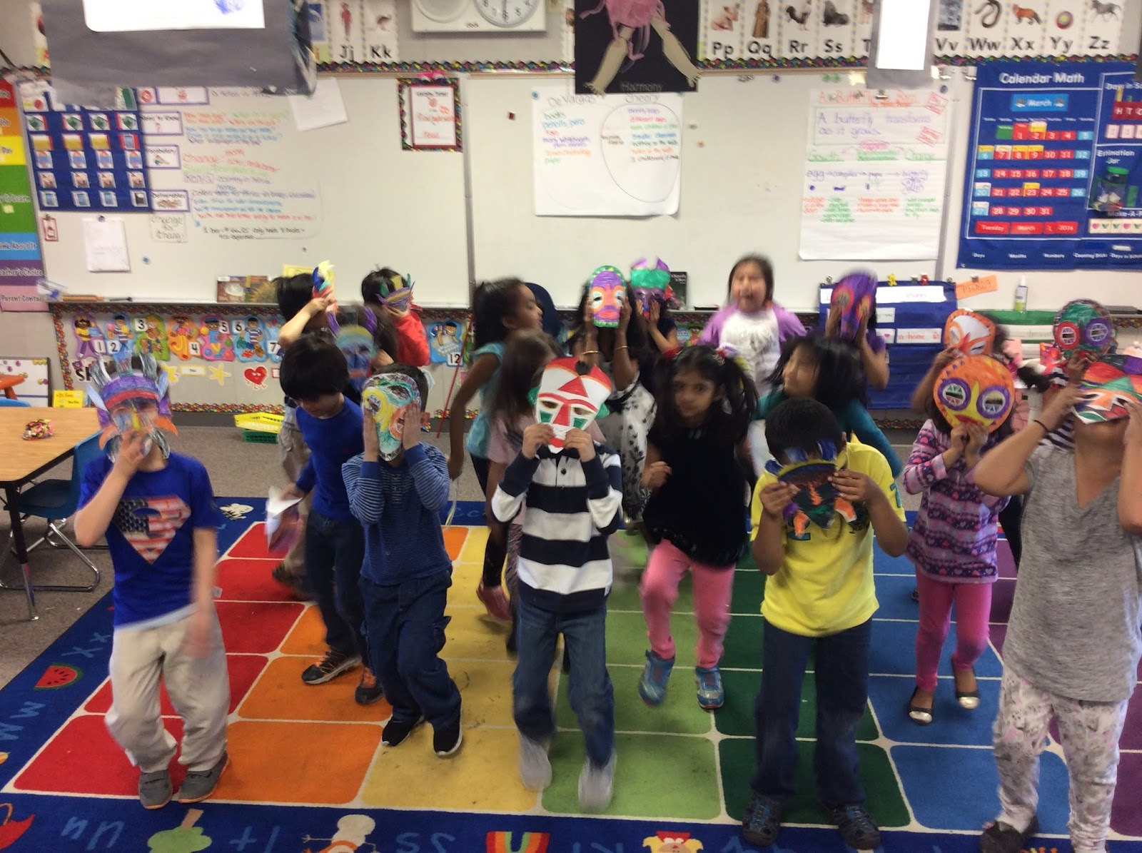 Kindergarteners doing an African Dance