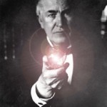 Thomas Edison with Light Bulb