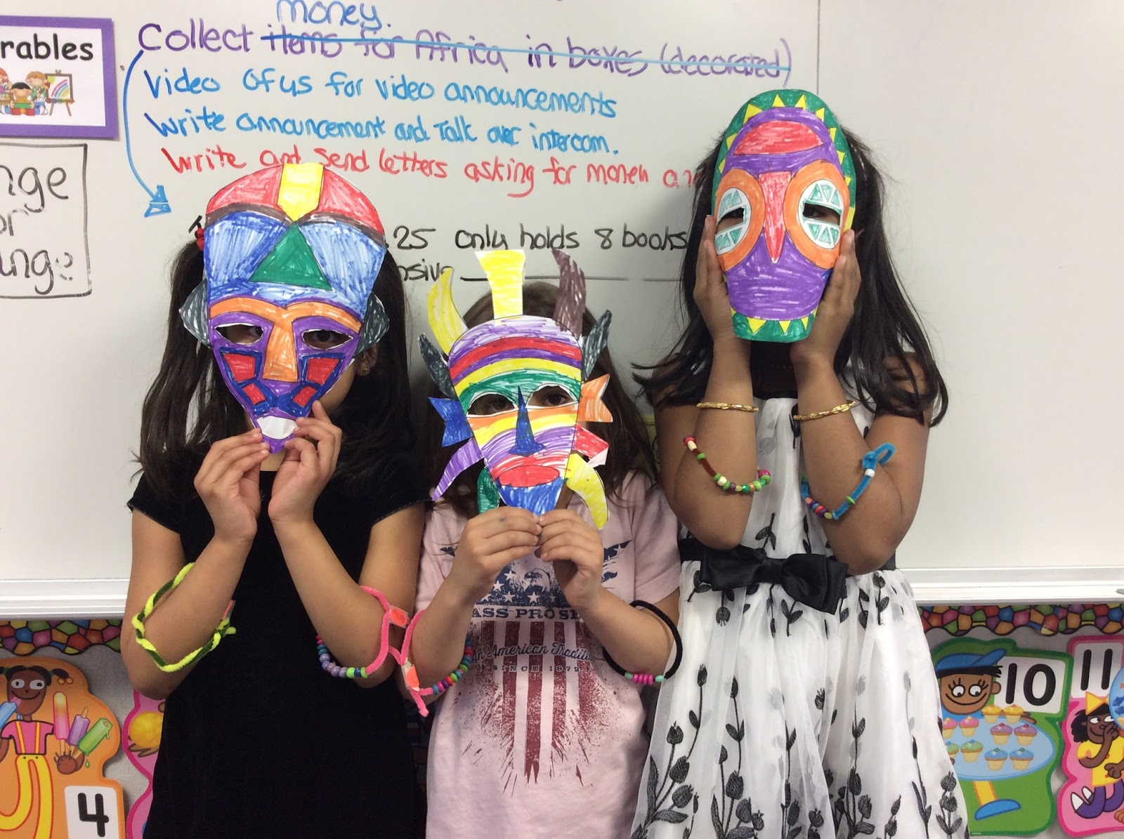 African Masks by Kindergarten Class