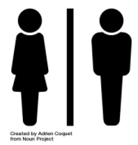 Universal Icon showing Men's and Women's Restrooms