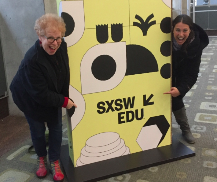 Lindsay and Barbara being silly at the SCSW EDU 2018 Conference